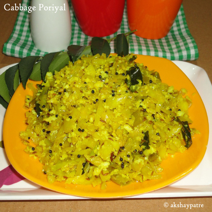 cabbage poriyal is ready to serve