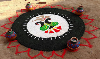 large rangoli colourful