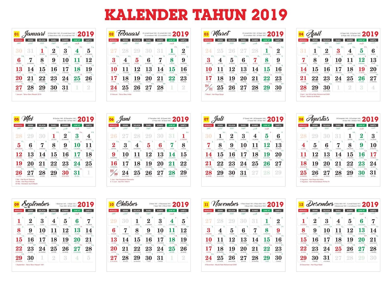 Master Kalender Tahun 2019 Cdr Idvector