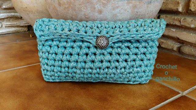 bolso de trapillo tejido con lúrex a crochet