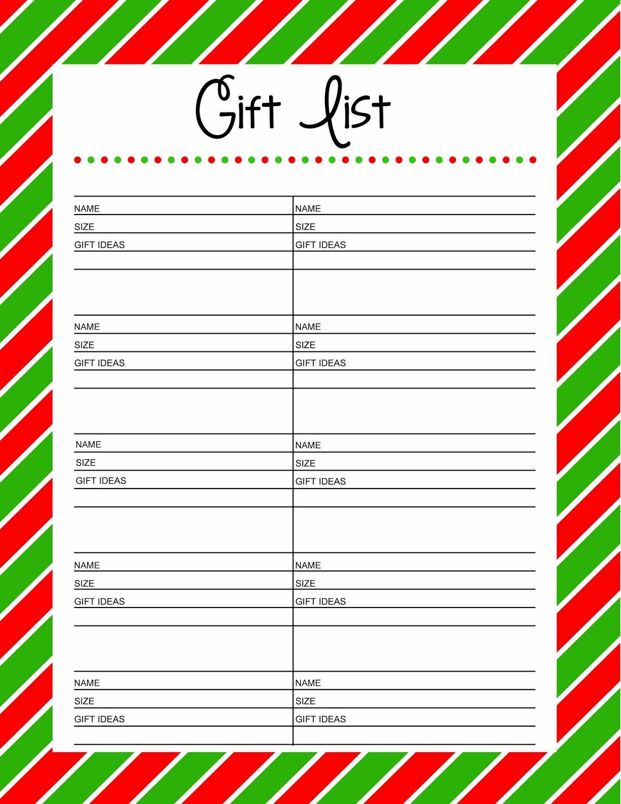 Free Printable Christmas Gift List  Free Printable Christmas Lists