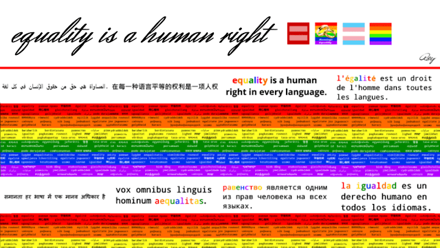 Google plus cover page with white header that says 'Equality is a human right' with red header (in Arabic, Chinese, English, French, Hindu, Latin, Russian, and Spanish) over the rainbow flag colors. 1240x700