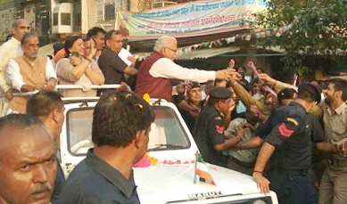 Chief Minister Manohar Lal Khattar's roadshow starts in Faridabad, public on the road