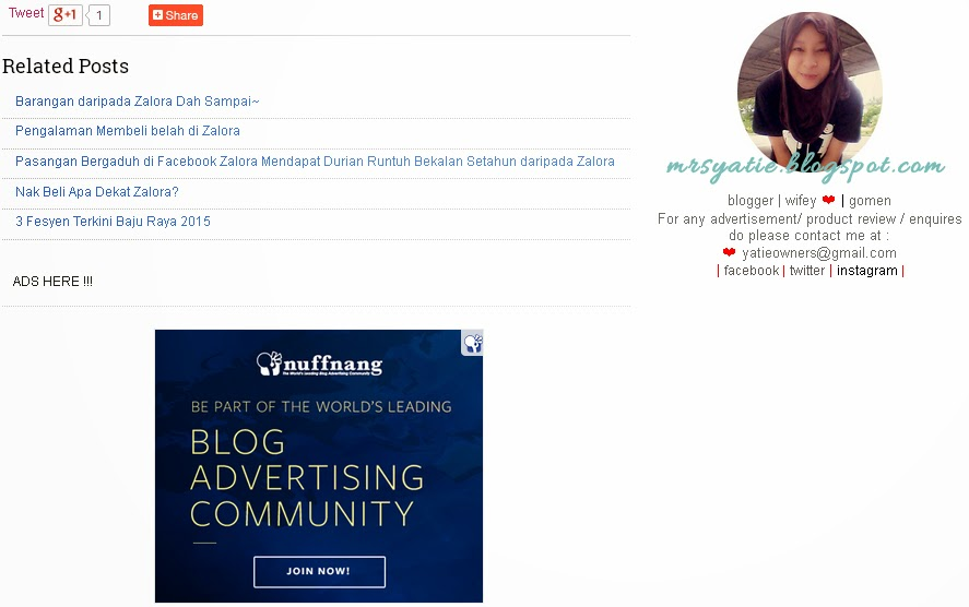 Iklan Nuffnang Di Sekat Dekat Pejabat