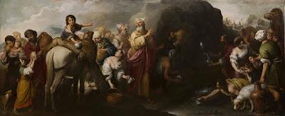 Moisés haciendo brotar el agua de la roca de Horeb - Murillo - 1667/70