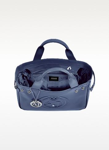 Armani tote bag από μπλε λουστρίνι, με διπλή λαβή, εσωτερικές τσέπες και συνθετικό δέρμα vegan
