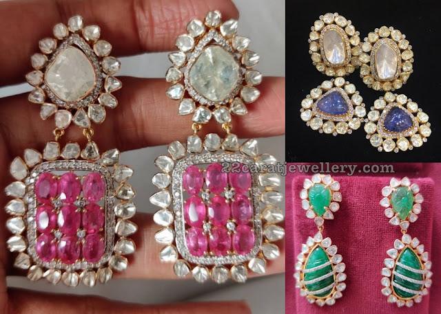 Curved Ruby Emerald Earrings