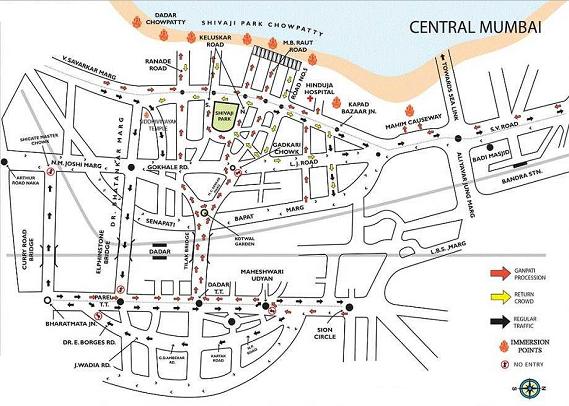 Dadar and Shivaji Park Ganesh Visarjan 2016 Route