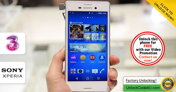 Factory Unlock Code Sony Xperia M4 Aqua from Three Network