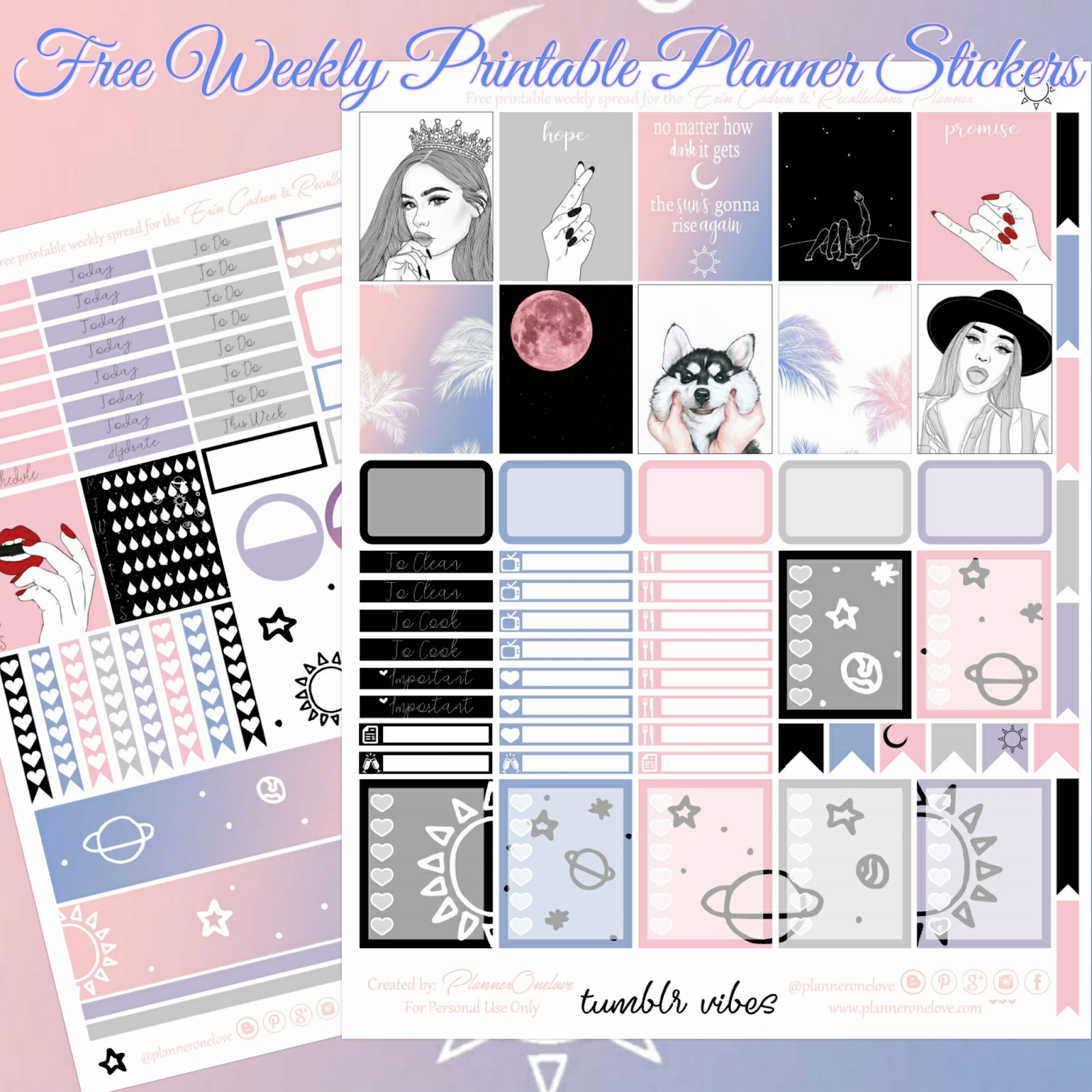 photograph regarding Planner Tumblr titled free of charge tumblr vibes printable planner stickers for the Erin