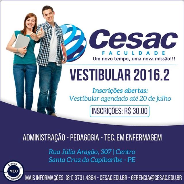 Vestibular 2016.2 da Faculdade Cesac está com inscrições abertas
