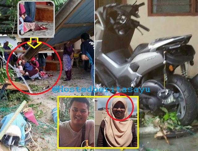 SAYU !! Terkulai layu berlumur darah.. Isteri yang dinikahi 3 bulan maut motosikal suami rempuh rumah (10 Gambar)