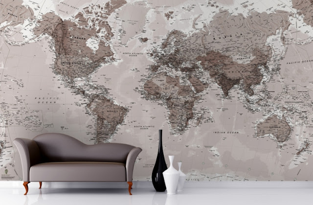 tapet världskarta svart vit