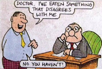 Funny doctor eaten something that disagrees with me cartoon joke picture