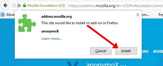 cara buka situs yg diblokir dengan instal addons anonymox