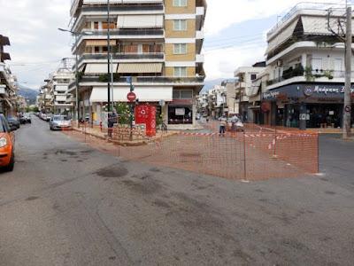 Εργασίες για πλατεία στη συμβολή Μπουλούκου και Αθηνών