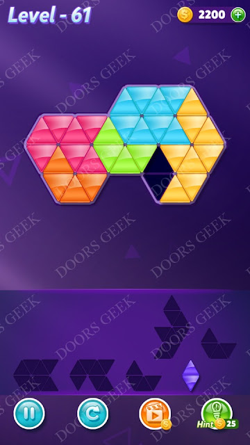 Block! Triangle Puzzle 6 Mania Level 61 Solution, Cheats, Walkthrough for Android, iPhone, iPad and iPod