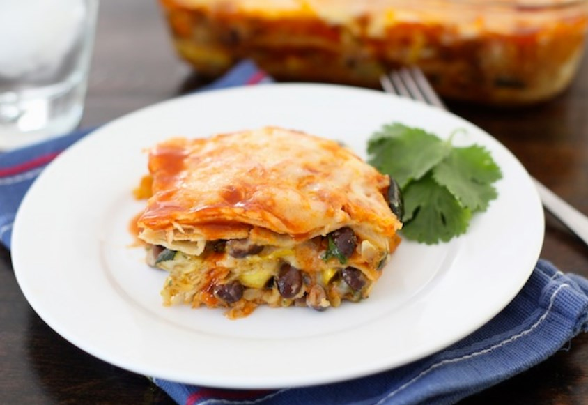 Stacked Roasted Vegetable Enchiladas #veganrecipe #vegetarian