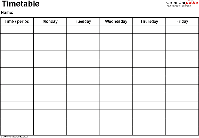Download Office Timetable Template in Word