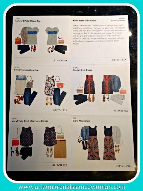 August 2015 Stitch Fix Review - Style Card