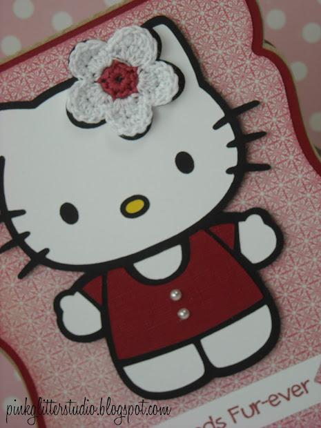 Pink Glitter Studio Kitty With Flower