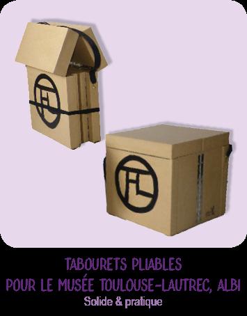Tabouret pliable en carton par Cartons Dudulle pour les guides du Musée Toulouse-Lautrec à Albi