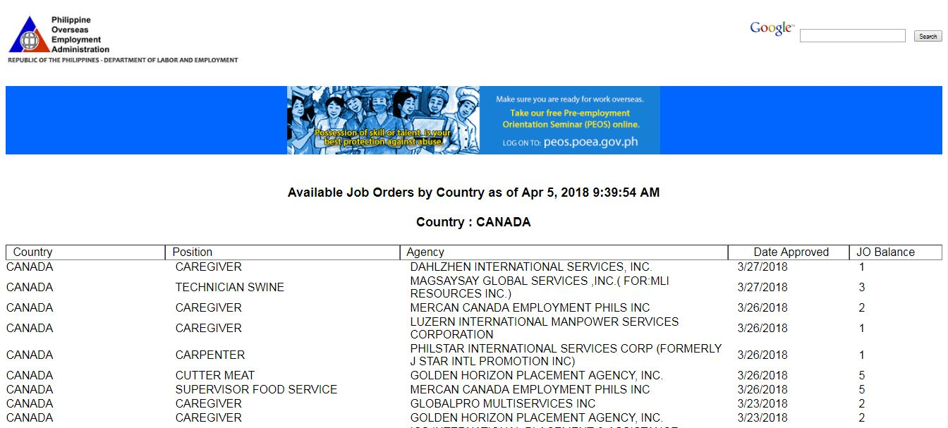 Canada is the second largest country in the world but small in terms of population. This is the main reason why the country is always hiring Filipino workers to fill in the shortage in their local employment bringing good opportunities to Filipinos who are searching for international employment or jobs abroad.  On the other hand, Cyprus is an island country in the Eastern Mediterranean and the third largest and third most populous island in the Mediterranean. Historically and culturally, Cyprus is a European country, although geographically, it is closer to Asia. Cyprus is one of many countries that are looking for Filipino workers. Check the complete list below for April 2018.  Please be reminded that jbsolis.com is not a recruitment agency, all information in this article is taken from POEA job posting sites and being sort out for much easier use.   The contact information of recruitment agencies is also listed. Just click your desired jobs to view the recruiter's info where you can ask a further question and send your application. Any transaction entered with the following recruitment agencies is at applicants risk and account.