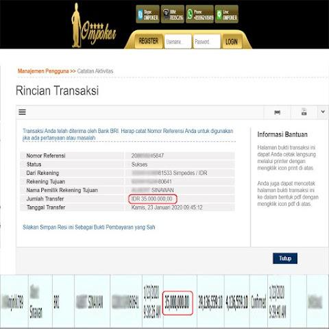 Selamat Kepada Member Setia Ompoker WD Rp 35.000.000