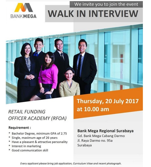 Walk In Interview PT Bank Mega Tbk Juli 2017