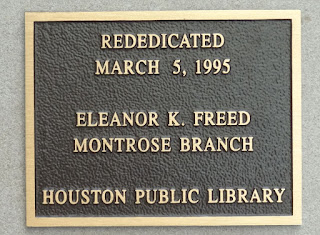 Eleanor K. Freed Montrose Library Rededication Plaque dated 1995