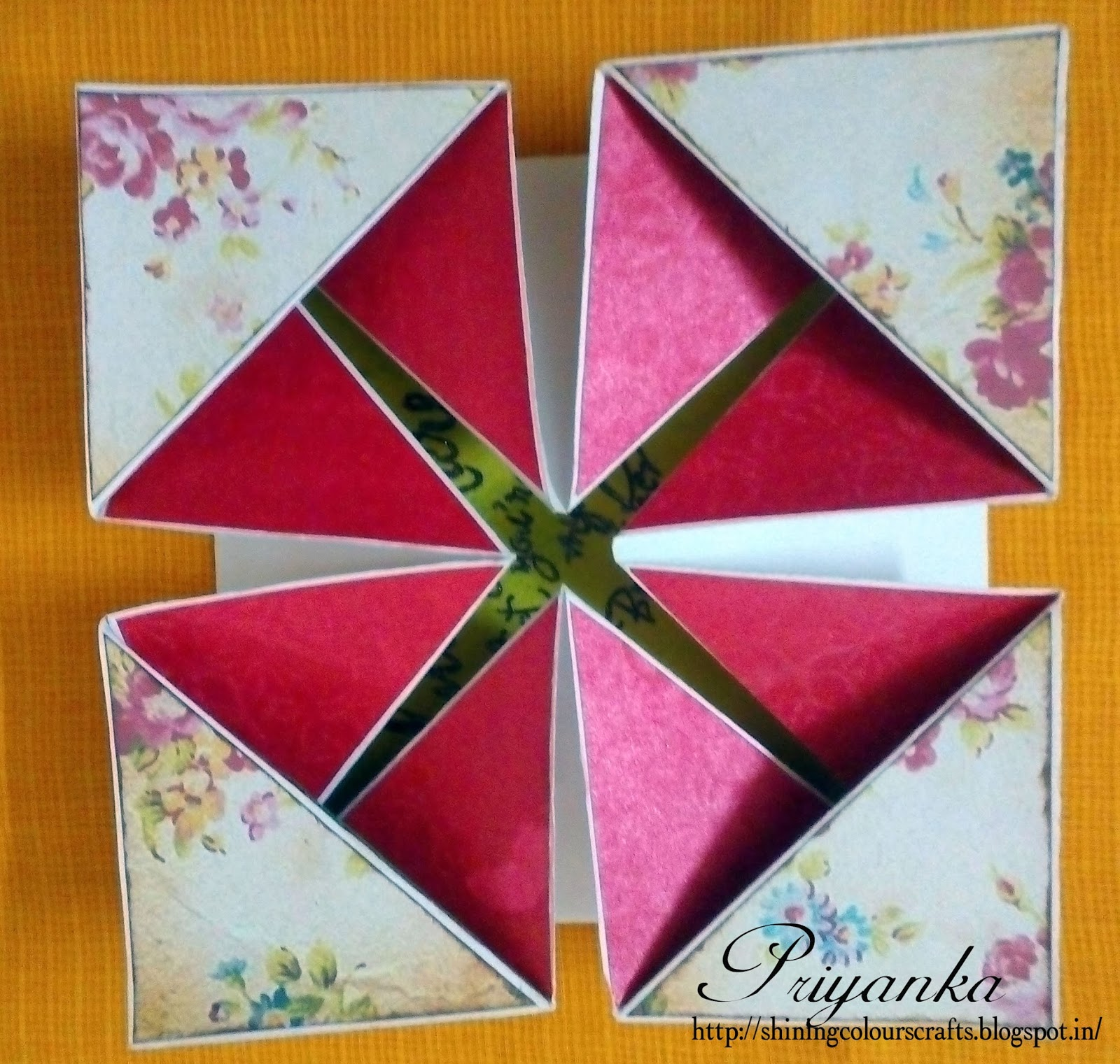 shining colours handmade crafts  napkin fold card with