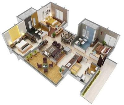 Model Gambar Denah Rumah Minimalis 1 Lantai Type 36