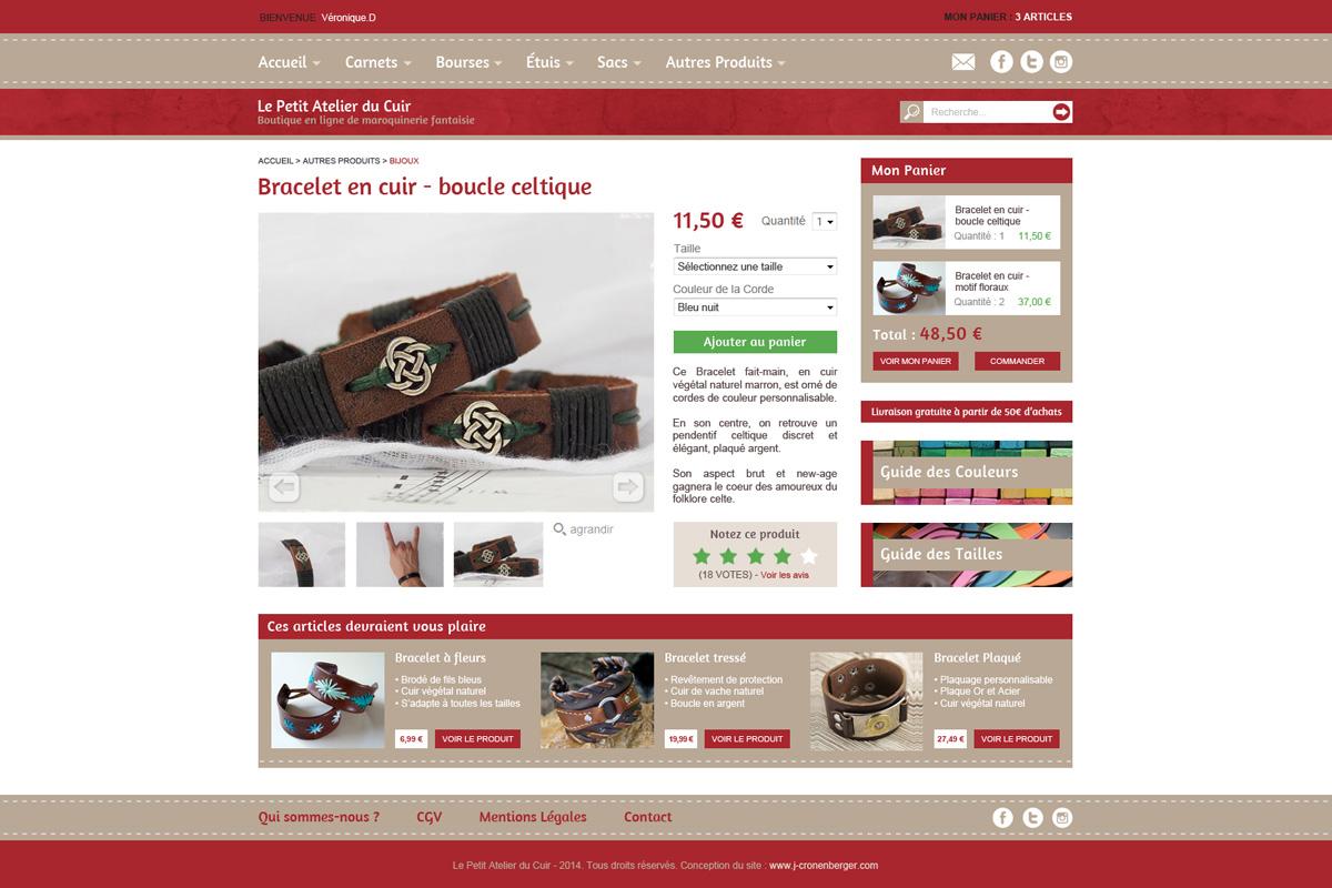 Création de site e-commerce, le petit atelier du cuir