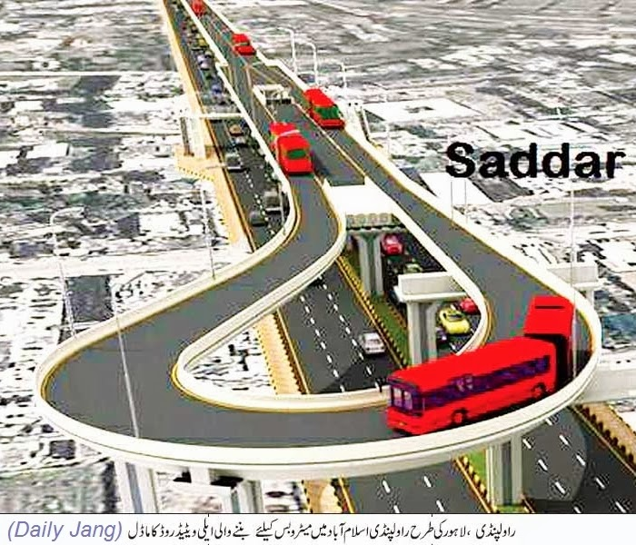 Model of Elevated Road for Rawalpindi Metro Bus from Saddar to Faizabad