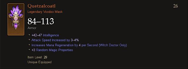 Diablo 3 | Legendary and Set Voodoo Masks Table
