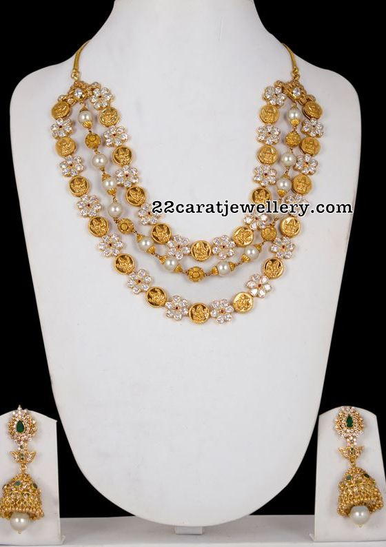 3 Rows Floral Kasu Necklace