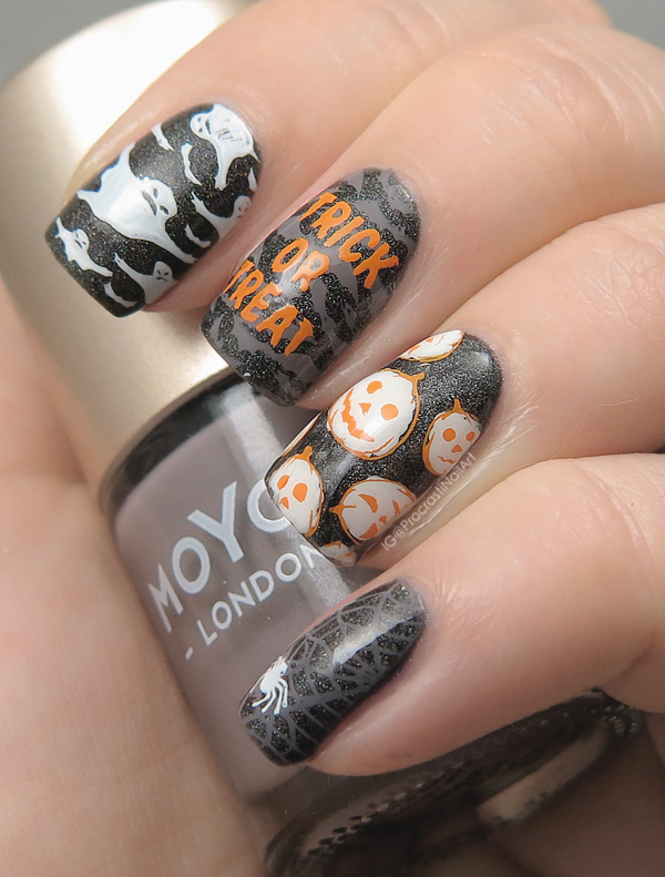 Nail art with black julep holo nail polish