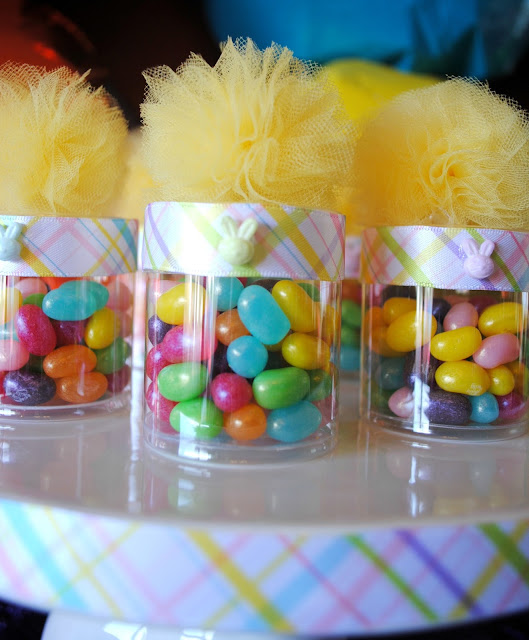 Jelly Belly party favors at Fizzy Party's bright Easter party