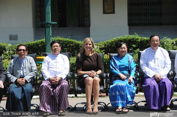 Queen Maxima of the Netherlands with officials and professors at Yangon University in Yangon