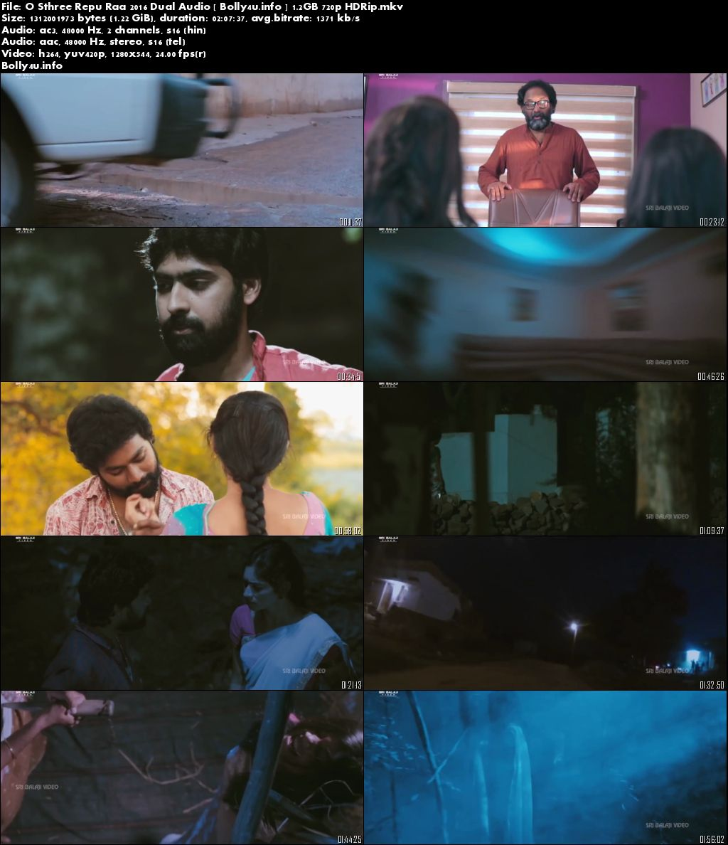 Screen Shoots of O Sthree Repu Raa 2016 HDRip Download 1.2Gb Hindi Dual Audio 720p