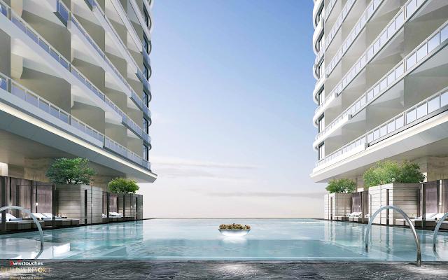 thiết kể bể bơi vô cực có 1 không 2 tại dự án La Luna Resort