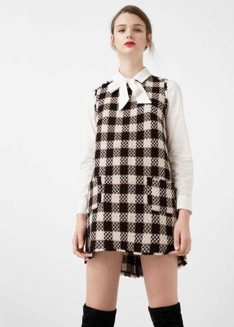 С чем носить платье из твида