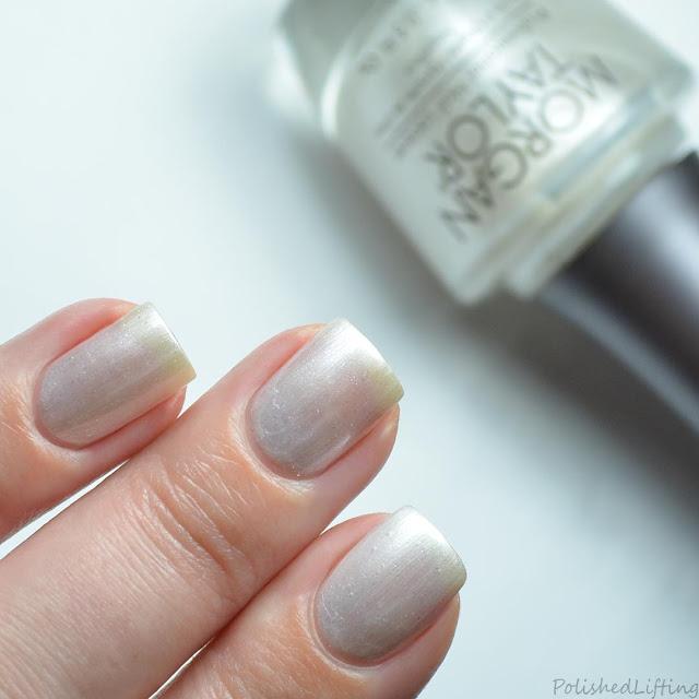 white shimmer nail polish swatch