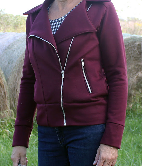 Indiesew pattern called Evergreen Jacket, a moto jacket made with a knit fabric