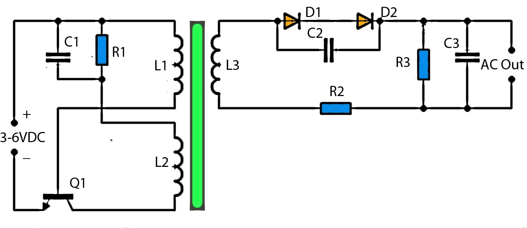 3v to high voltage inverter schematic diagram