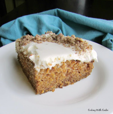 maple cream cheese frosting on Linda's famous carrot cake