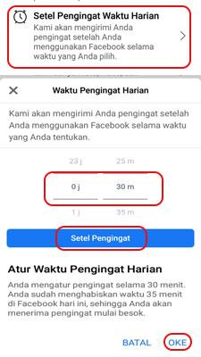 Aktifkan pengingat waktu di facebook