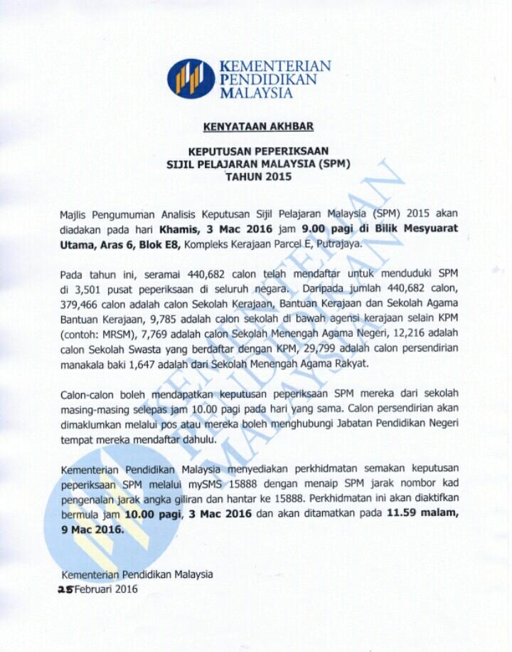Keputusan SPM 2015 Online Dan SMS