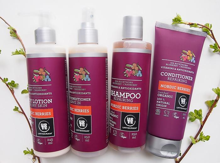 Urtekram Nordic Berries shampoo vartalovoide hoitoaine jätettävä hoitoaine