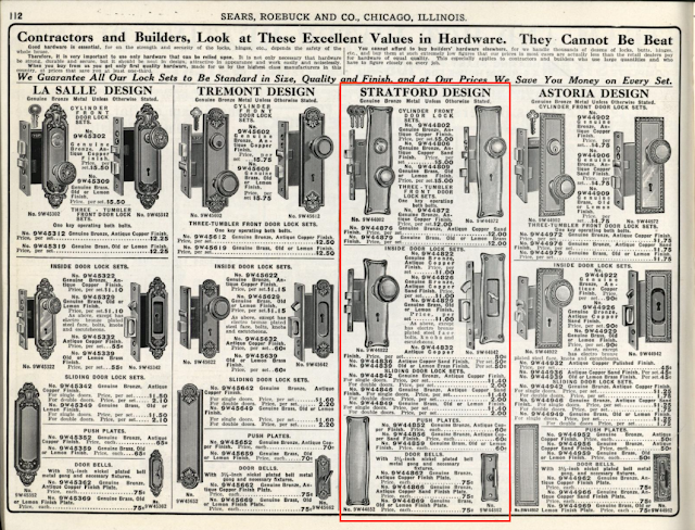 Sears Stratford design door hardware in 1912 Sears building supplies catalog